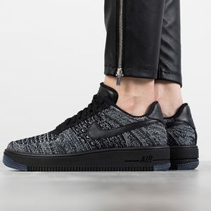 Nike Air Force 1 One Low Flyknit Black White NEW